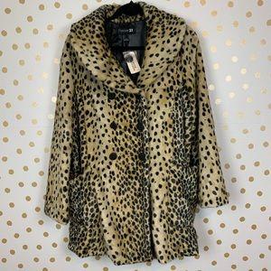 Forever 21 Faux Fur Animal Print Coat